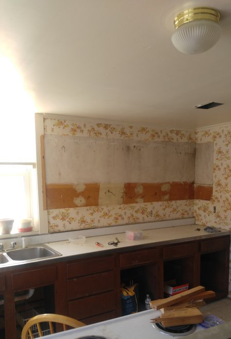 customer kitchen counter and sink before renovation.